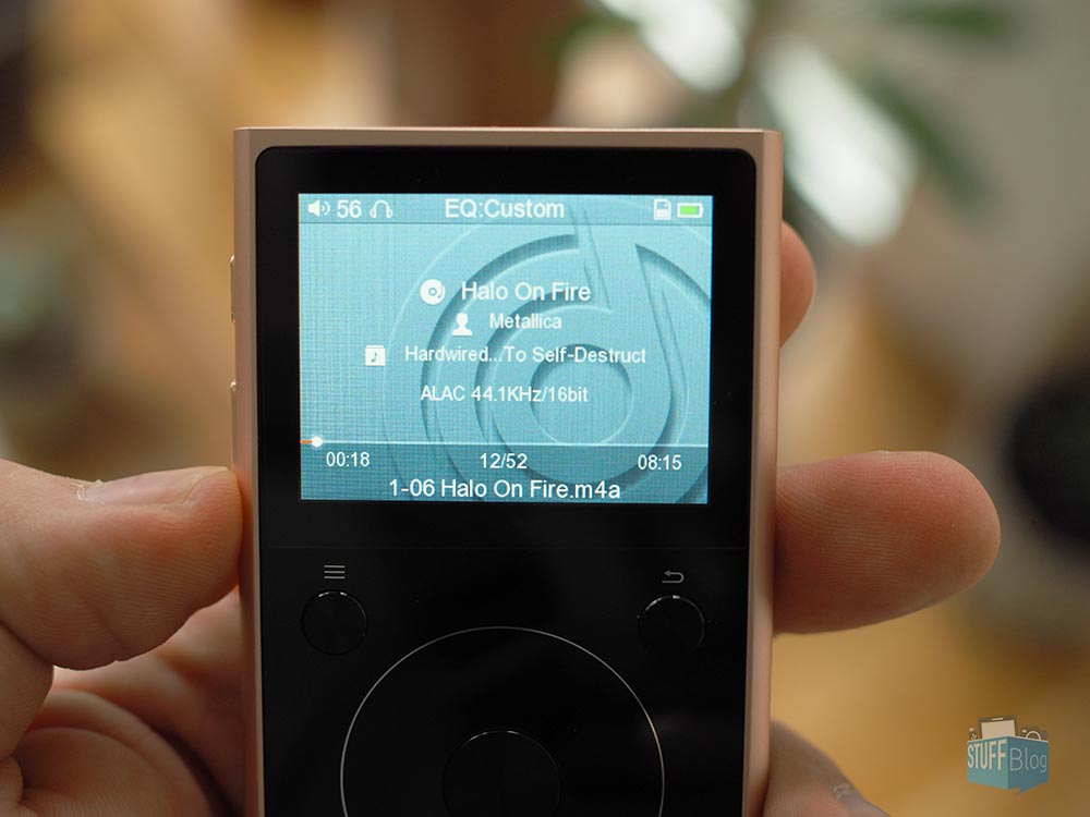 Display des Fiio X1II HiRes Audio Players